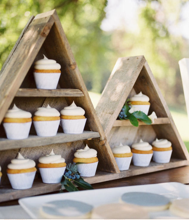 Wooden triangle display for cupcakes