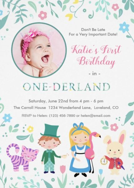 Alice in One-derland first birthday invitation with photo