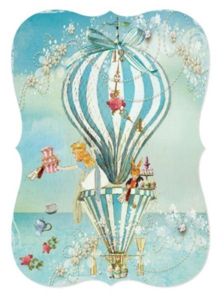 Alice in Wonderland hot air balloon invitations