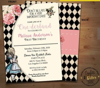 Vintage Alice in One-derland birthday invitation