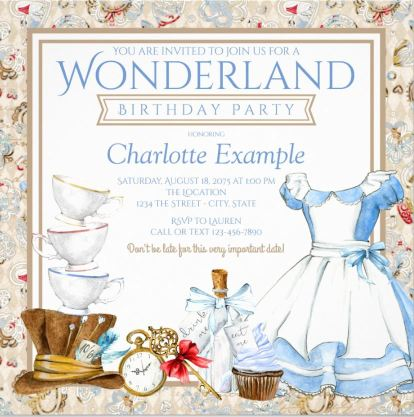 Sweet Alice in Wonderland Birthday invitation