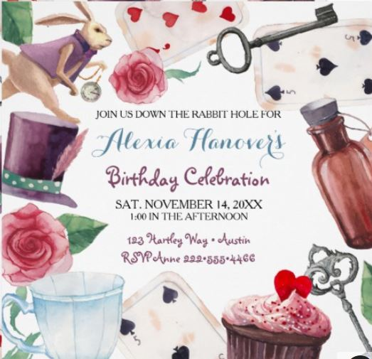 Watercolor Alice in Wonderland Birthday Invitation