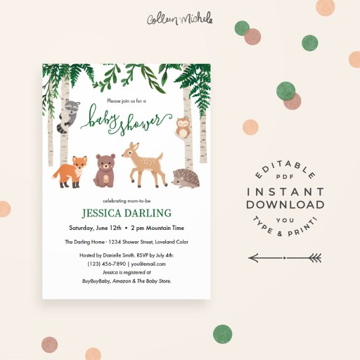 Cute Woodland Animals Baby Shower Invitation from Colleen Michele on Etsy