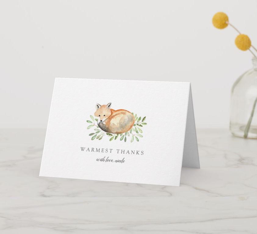 watercolor fox thank you card
