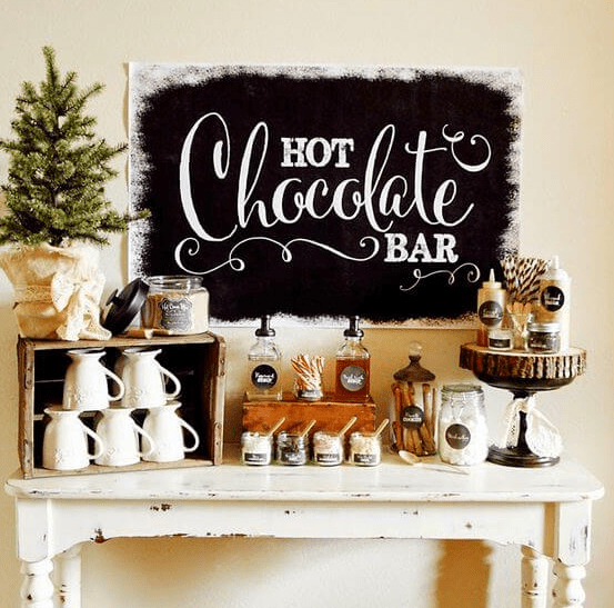 Baby it's cold outside Hot chocolate bar display