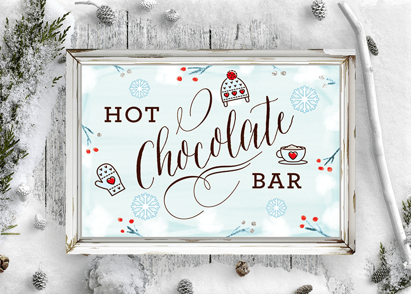 free hot chocolate bar sign