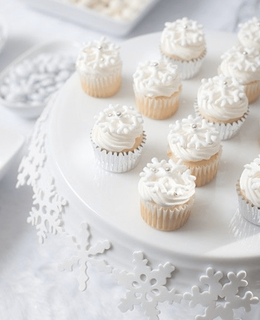 miniature white cupcakes for winter baby it's cold outside shower