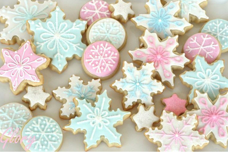 blue and pink snowflake cookies for winter baby it's cold outside shower