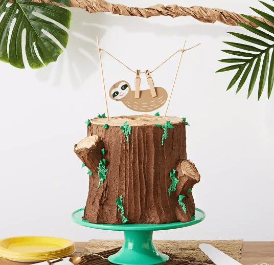 sloth theme birthday cake