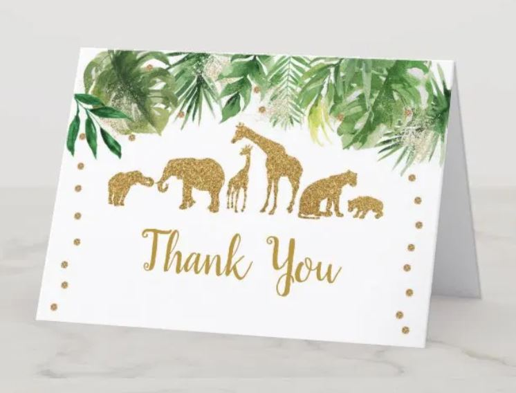 golden safari animal thank you card for baby shower