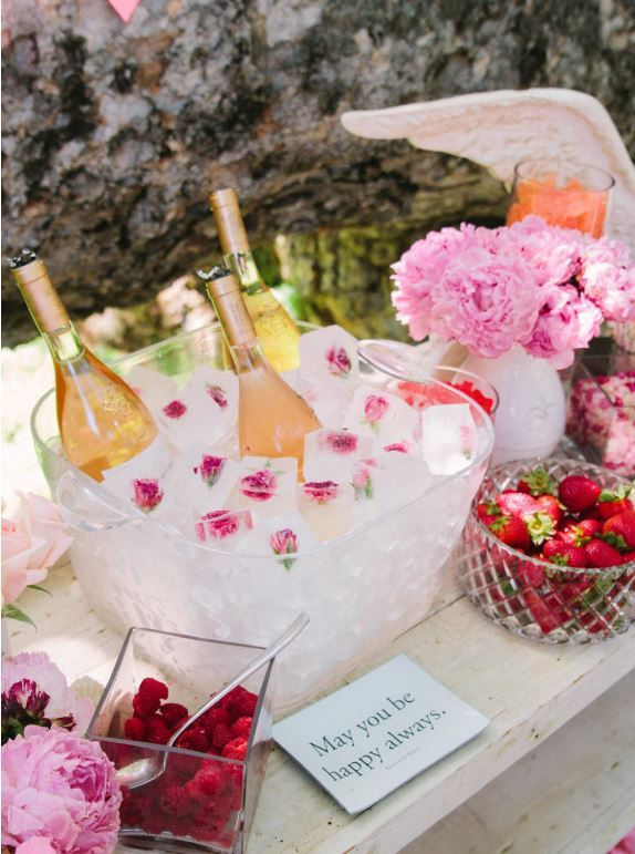 flower ice display for champagne