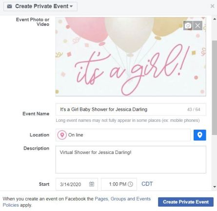 facebook baby shower idea