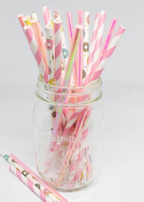 donut theme straws