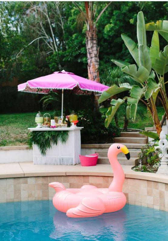 pink flamingo pool floatie