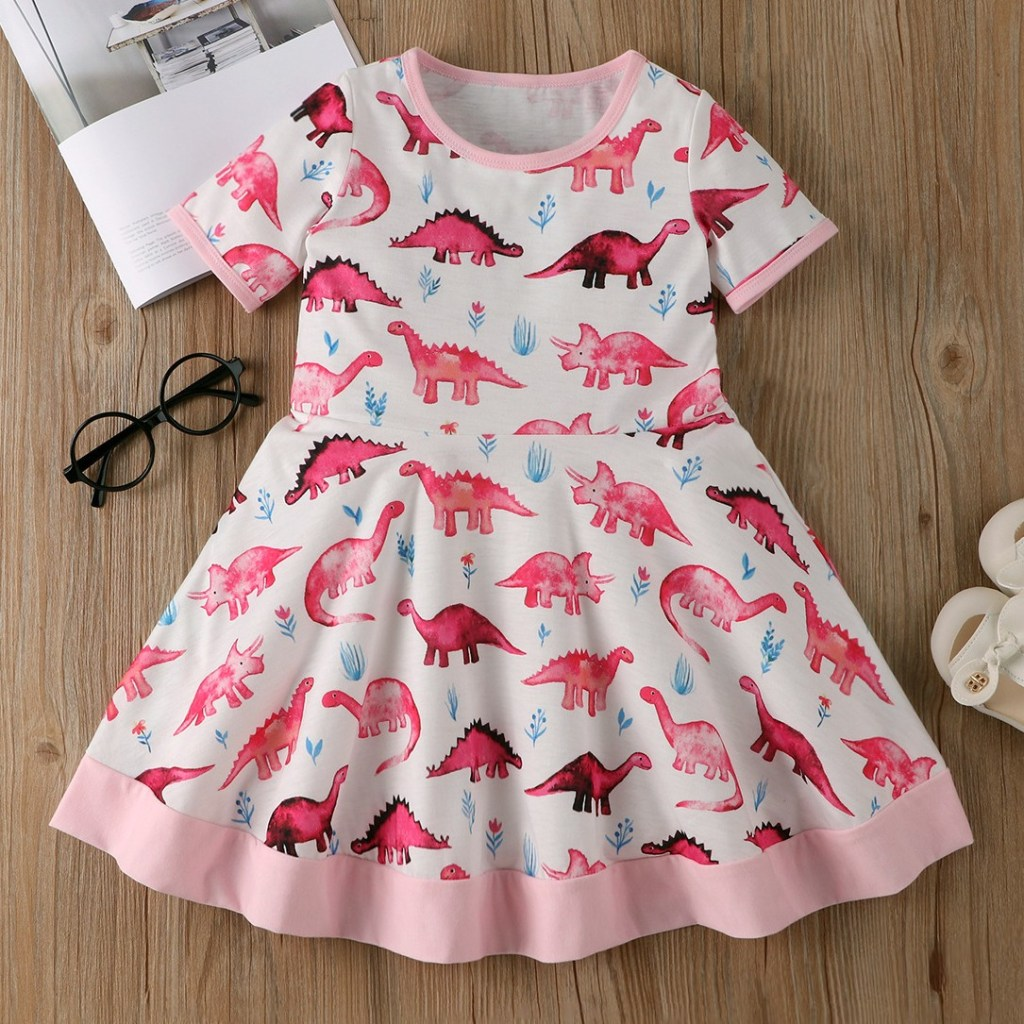 cute dinosaur girl dress