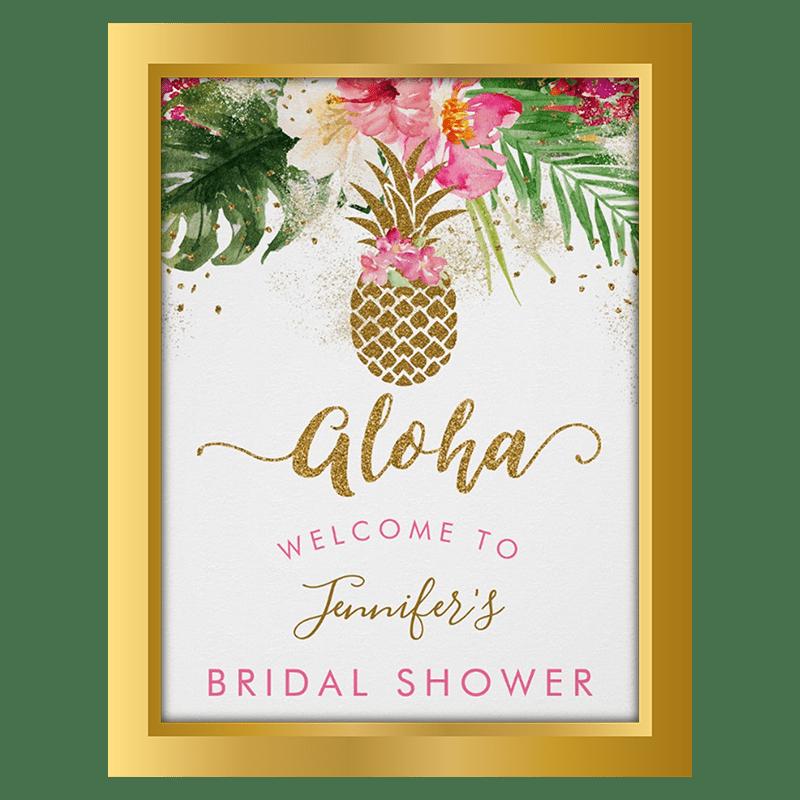 aloha bridal shower welcome poster