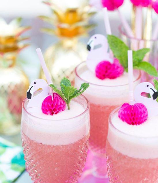 cute flamingos drink decorations