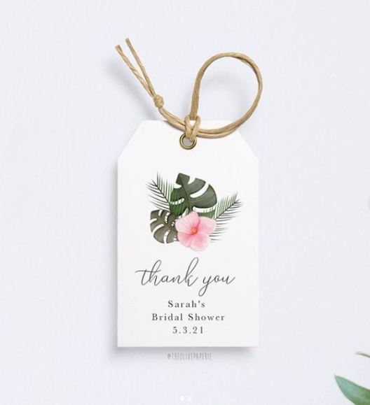 tropical thank you tags