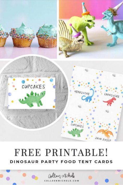 Free dinosaur food tent printables