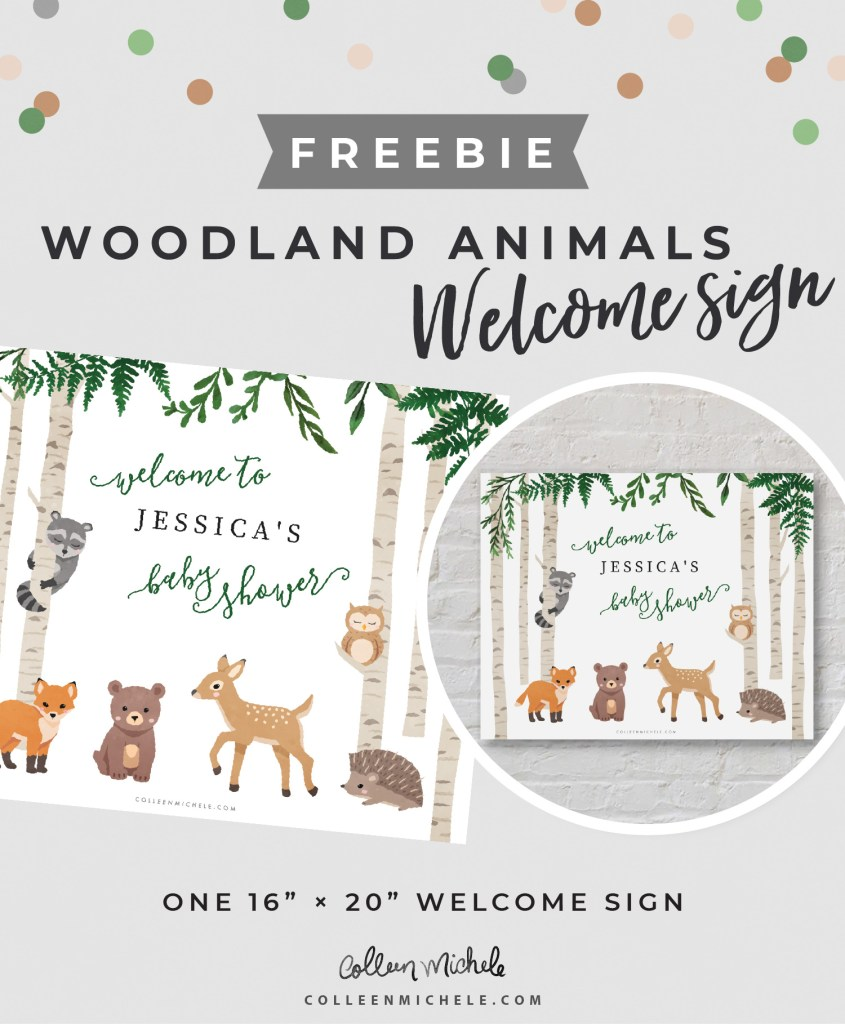 Freebie: Cute Woodland Animals Baby Shower Welcome Sign. One 16 x 20 Sign
