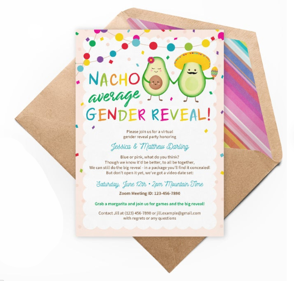 Nacho average gender reveal - baby shower invitation
