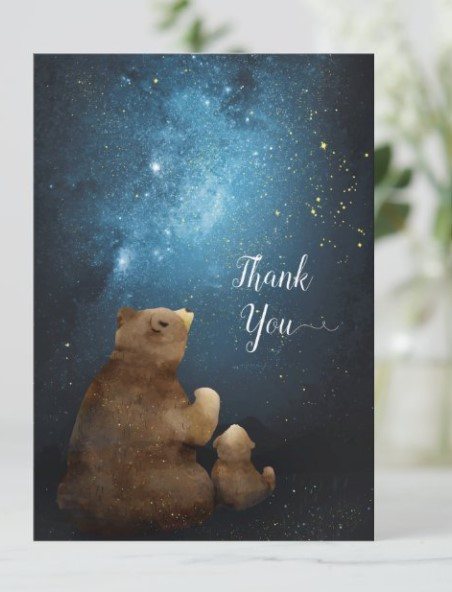 momma bear and baby bear thank you card