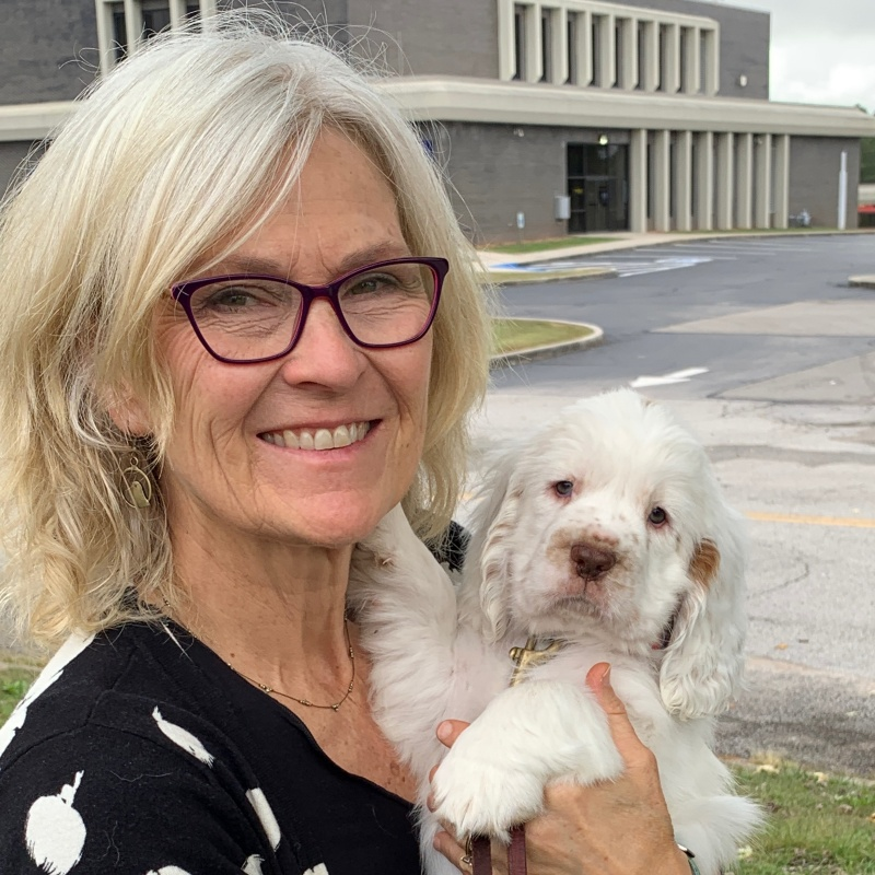 Julie Fudge Smith, CPDT-KA, and her puppy, Clementine