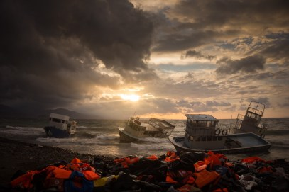 The aftermath of hundreds of refugees arriving in between storms on Lesvos. November 2015.