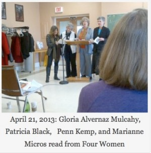 April 21, 2013: Gloria Alvernaz Mulcahy, Patricia Black, Penn Kemp, and Marianne Micros read from Four Women
