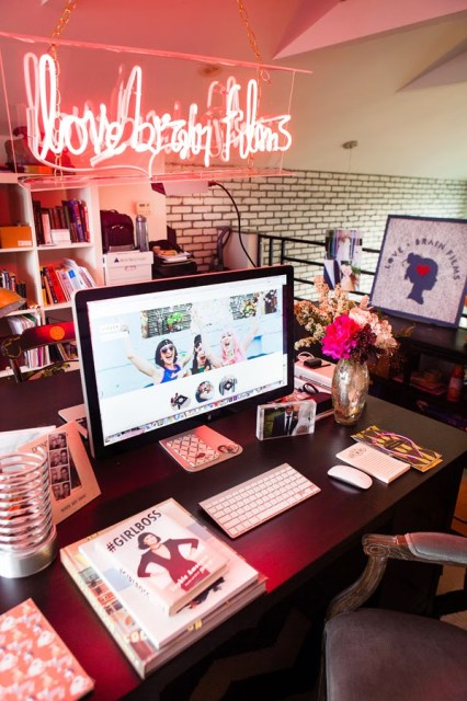 pretty pink office workspace inspiration