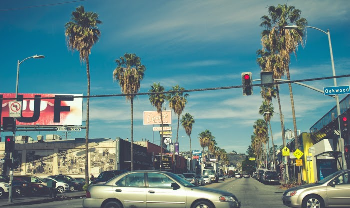 los angeles california palm trees blue skies