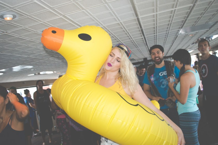 daybreaker LA shelby scott in inflatable duck