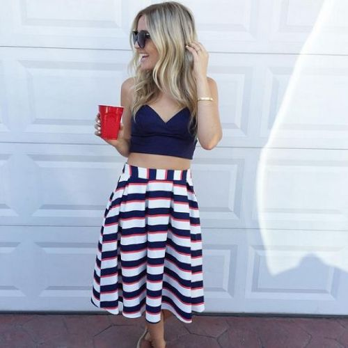 cute 4th of july outfit red white and blue striped skirt
