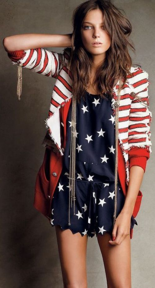 cute 4th of july outfit striped blazer star dress