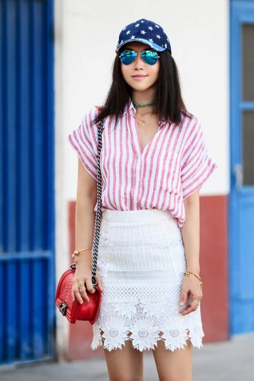 cute 4th of july outfit striped shirt white lace skirt star baseball hat