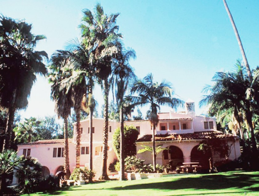 Jayne Mansfield's Pink Palace | The exterior of the Spanish-style Pink Palace.
