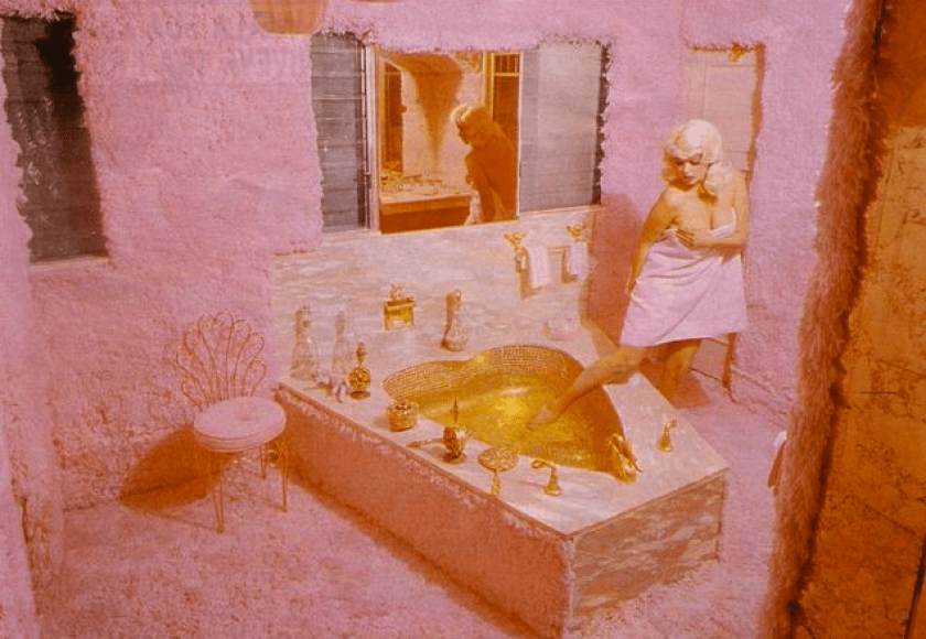 Jayne Mansfield's Pink Palace | Jayne tests the waters in her heart-shaped bath tub in her pink furry bathroom.