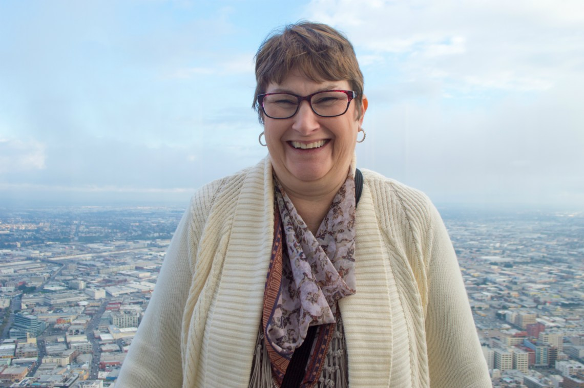My mom at OUE Skyspace in Downtown Los Angeles.