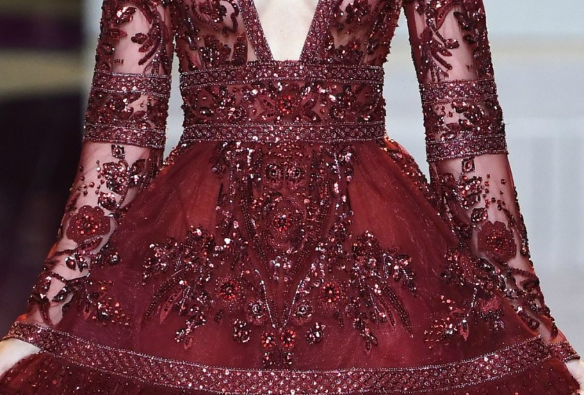 Zuhair Murad Fall 2016 Couture detail of red sequins and beading