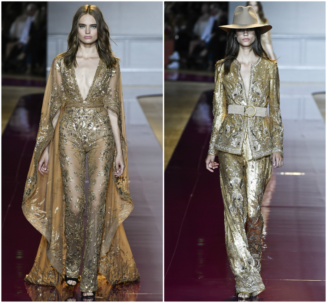 Zuhair Murad Fall 2016 Couture gold sequin jumpsuits