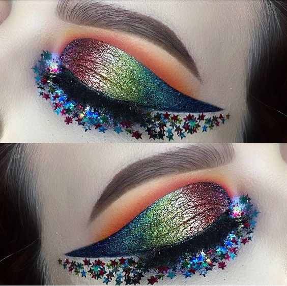 metallic rainbow eyes with star glitter