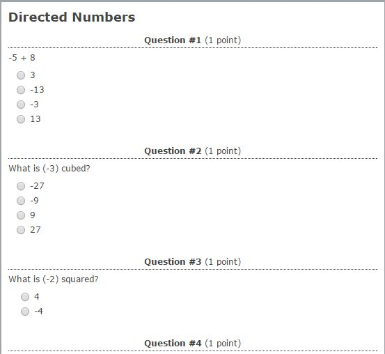 Testmoz Directed Numbers