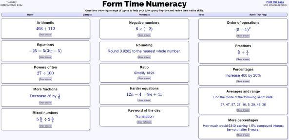Form Time Numeracy - Jonathan Hall