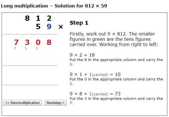 Mathsonline long multiplication