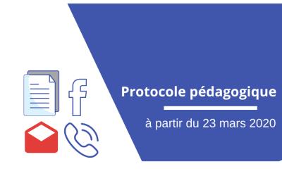 Protocole pédagogique déployé à partir du 23 mars 2021