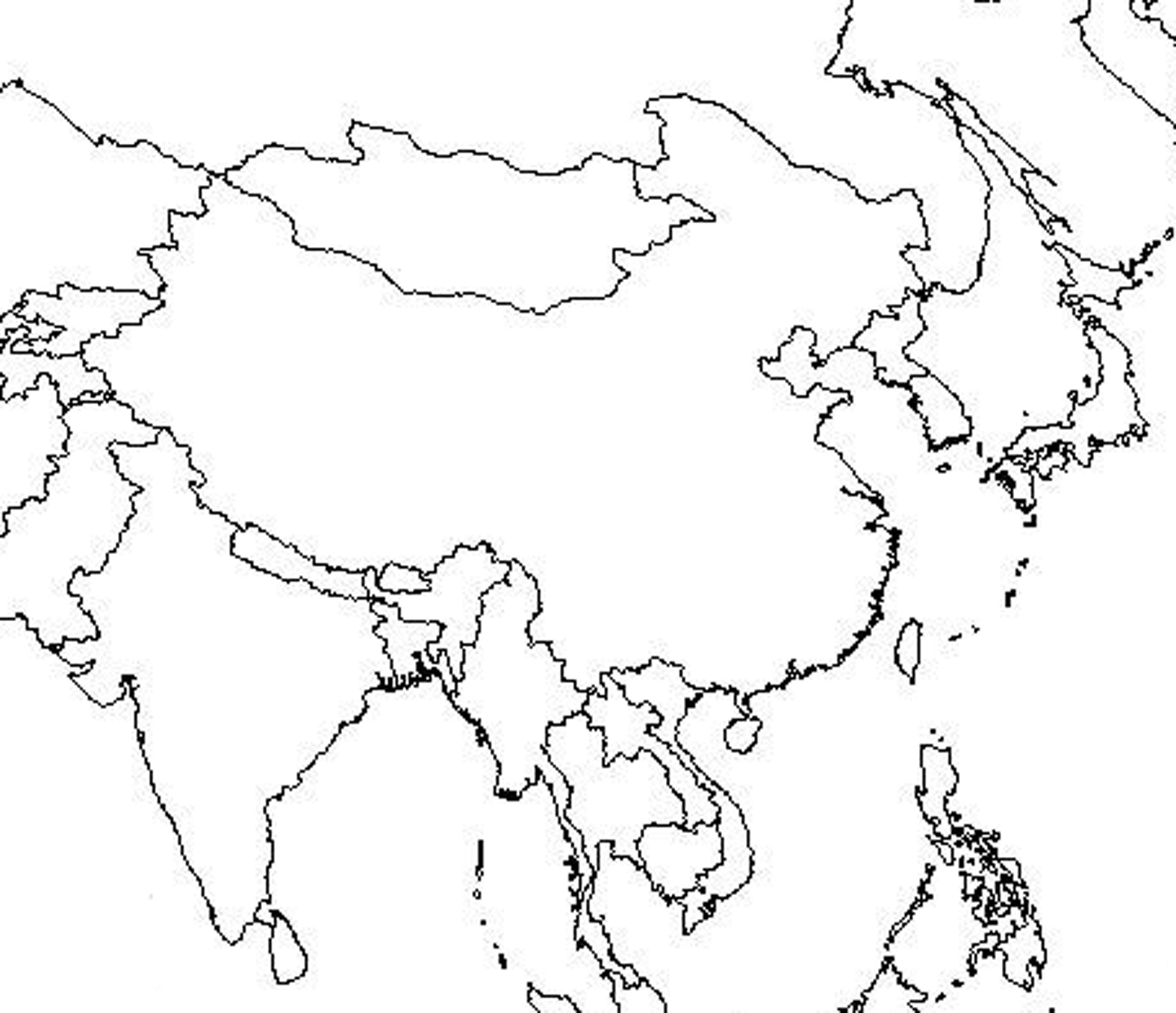 Unlabeled Map Of Southeast Asia