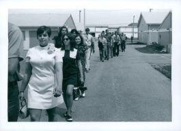 Graduation, circa 1970, procession outside the temporary buildings.