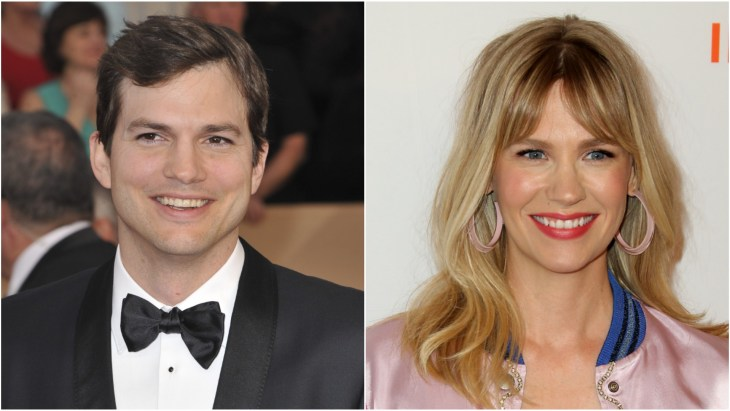 Ashton Kutcher wearing a black tuxedo at the 2017 23rd Screen Actors Guild Awards, SAG in Los Angeles. January Jones wearing a silk pink bomber jacket at the Step Up Inspiration awards at the Beverly Wilshire Hotel in Beverly Hills.