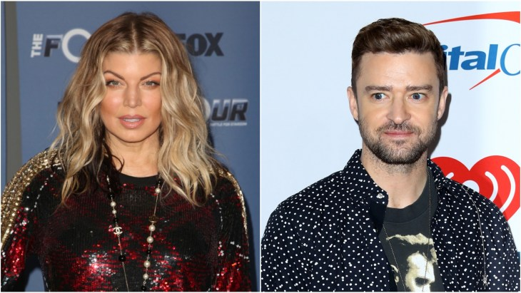 Fergie on the red carpet at the premiere of The Four: Battle for Stardom and Justin Timberlake at the 2018 iHeartradio Music Festival in Las Vegas