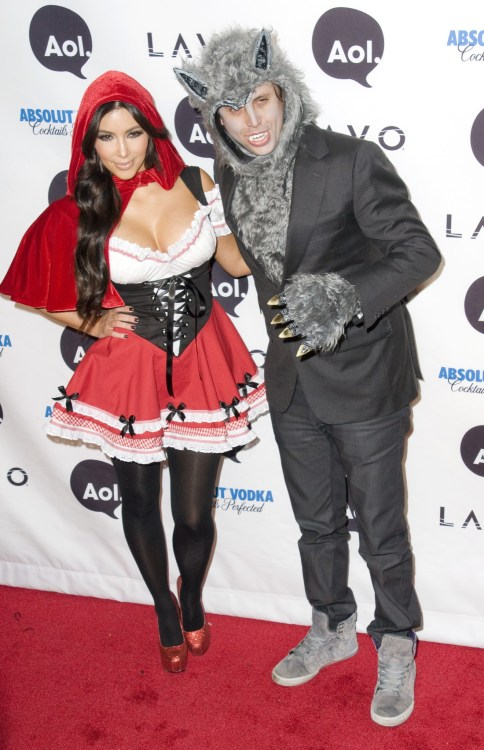 Kim Kardashian dressed up as little red riding hood and Jonathan Cheban dressed up as the big bad wolf